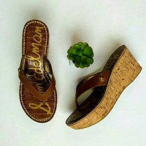Sam Edelman Romi cork wedge thong sandal
